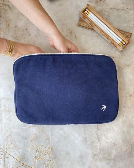 Pochette d'ordinateur CLARA Bleu Indigo