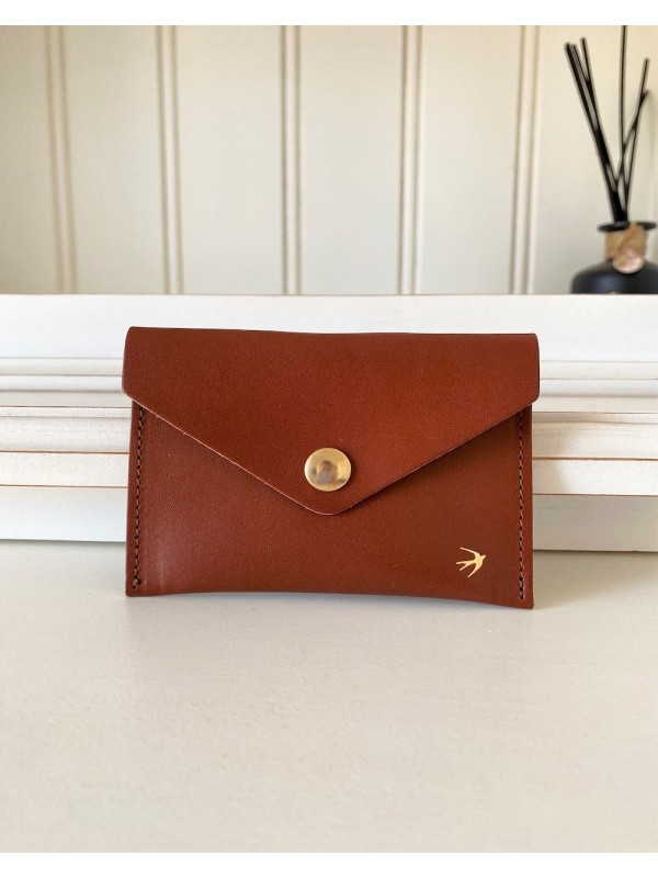 Leather Snap Wallet Suzanne - Camel