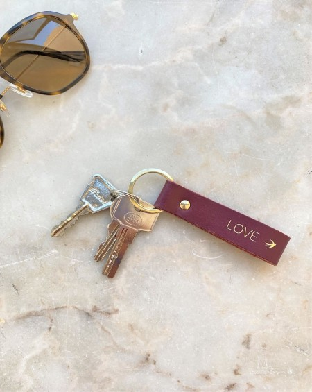 Leather Keychain Emilio - Burgundy