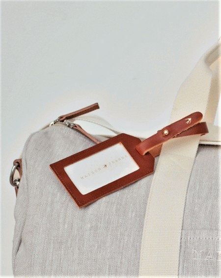Leather Luggage Tag Nora - Camel