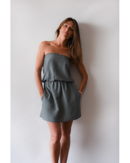 MARIE - The khaki strapless dress