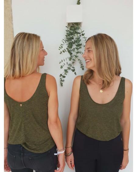 EMILIE - Le petit top à bretelles vert forêt
